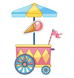 ice cream car with wheels and umbrella vector image