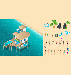 isometry chic bungalow in maldives vector image