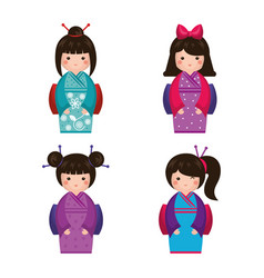 japanese girl doll icon vector image
