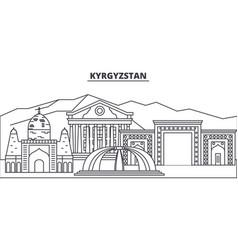 kyrgyzstan line skyline vector image