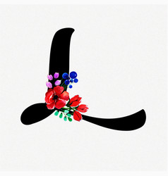 Letter l watercolor floral background vector