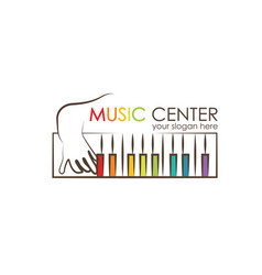 Logo for preschool music center kid playing vector