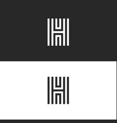Logo h letter modern monogram parallel lines vector