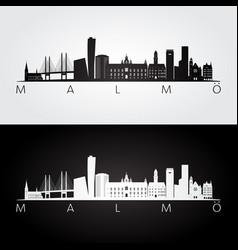 malmo skyline and landmarks silhouette vector image