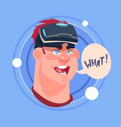 Man what male emoji wearing 3d virtual glasses vector