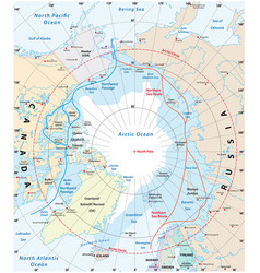 Map of the arctic region the northwest passage vector