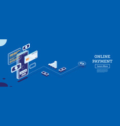 online payment with mobile phone isometric vector image