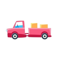 Pink Truck With Trailer Toy Cute Car Icon vector image