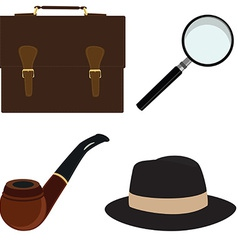 Pipe fedora hat magnifier briefcase vector