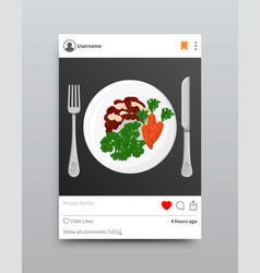 plate fork and knife instagram vector image