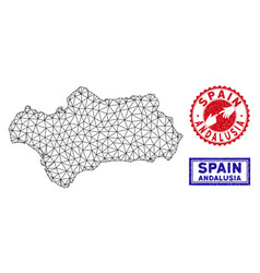 Polygonal network andalusia province map and vector