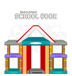 Poster back to school with set books vector