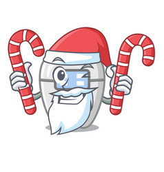 Santa with candy toys braces in mascot box vector