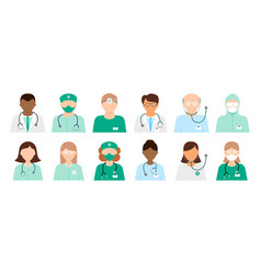 set 12 different diverse doctor icons vector image