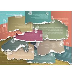 Set design elements ads colorful torn paper vector