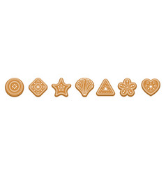 set ginger bread cookies christmas traditional vector image