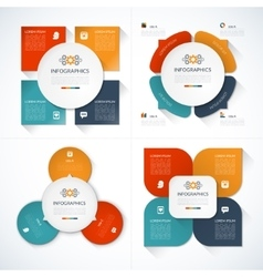 set modern minimal infographic design templates vector image
