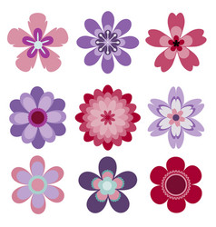 set of 9 abstract isolated flowers vector image