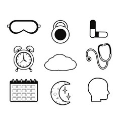 set of sleep time concept icons vector image