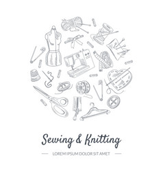 sewing and knitting banner template with hand vector image