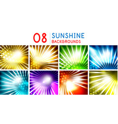 shiny sunny flares abstract background collection vector image