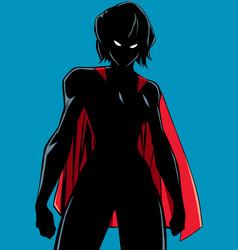 Superheroine battle mode silhouette vector