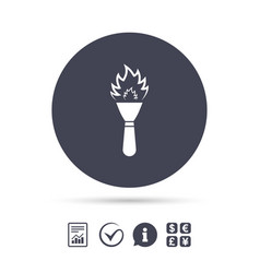 torch flame sign icon fire symbol vector image