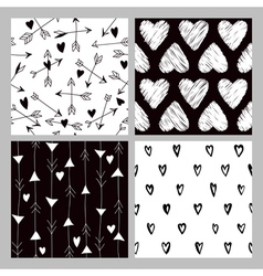 Valentines Day Heart Patterns - 4 Seamless Pattern vector
