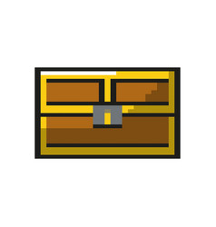 video game treasure chest with many gold vector image