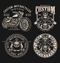 Vintage motorcycle designs set vector