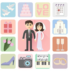 wedding icons flat style vector image