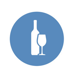wine bottle and wineglass icon placed in blue vector image