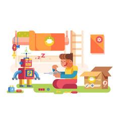 a boy control robot vector image vector image