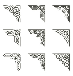 calligraphic line corners for vintage vector image vector image