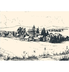 Countryside landscape Hand drawn vector image vector image