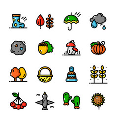 thin line autumn icons set vector image