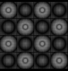 white and black halftone circle pattens in checker vector image vector image