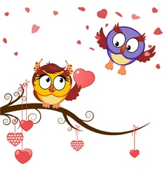 card funny owls declaration of love vector image