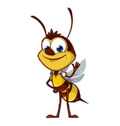cartoon bee says hi vector image