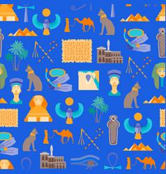 cartoon symbol of egypt seamless pattern vector image vector image