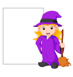 cartoon witch holding broomstick vector image
