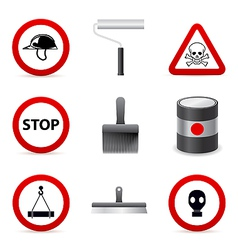 Danger building icons vector