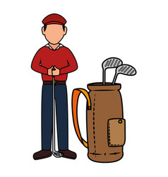 Golf player with clubs bag avatar character vector