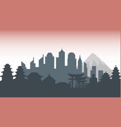 Japan silhouette architecture buildings town city vector