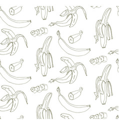 seamless pattern of whole and pieces of banana vector image vector image