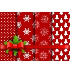 Set christmas red seamless backgrounds vector image vector image