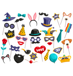 photo booth party icon set vector image vector image