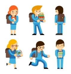 Pupils with textbooks vector image vector image