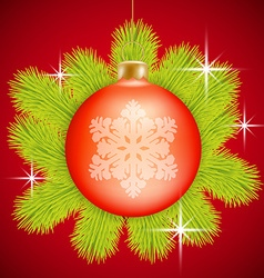 Red Christmas baubles vector image vector image