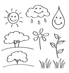 summer hand drawn sketches vector image vector image
